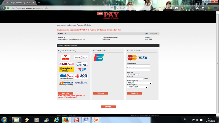 4. Systems will redirect you to https://www.revpay.com.my/epayment.php (3rd party payment getaway) for making payment online.